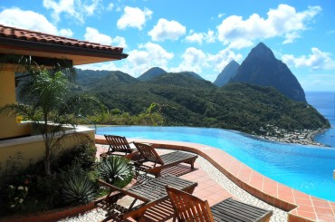 Boutique hotel for sale, Soufriere, St Lucia - pool with view of the Pitons