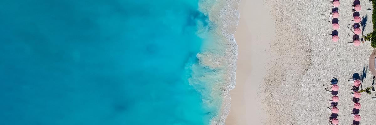 Grace Bay Beach, Providenciales, Turks & Caicos Islands - Birds Eye View