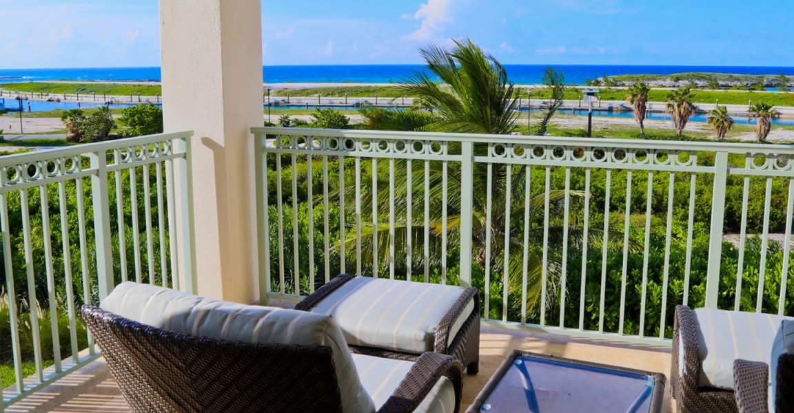 Luxury condos for sale, Great Exuma, Bahamas - terrace & view