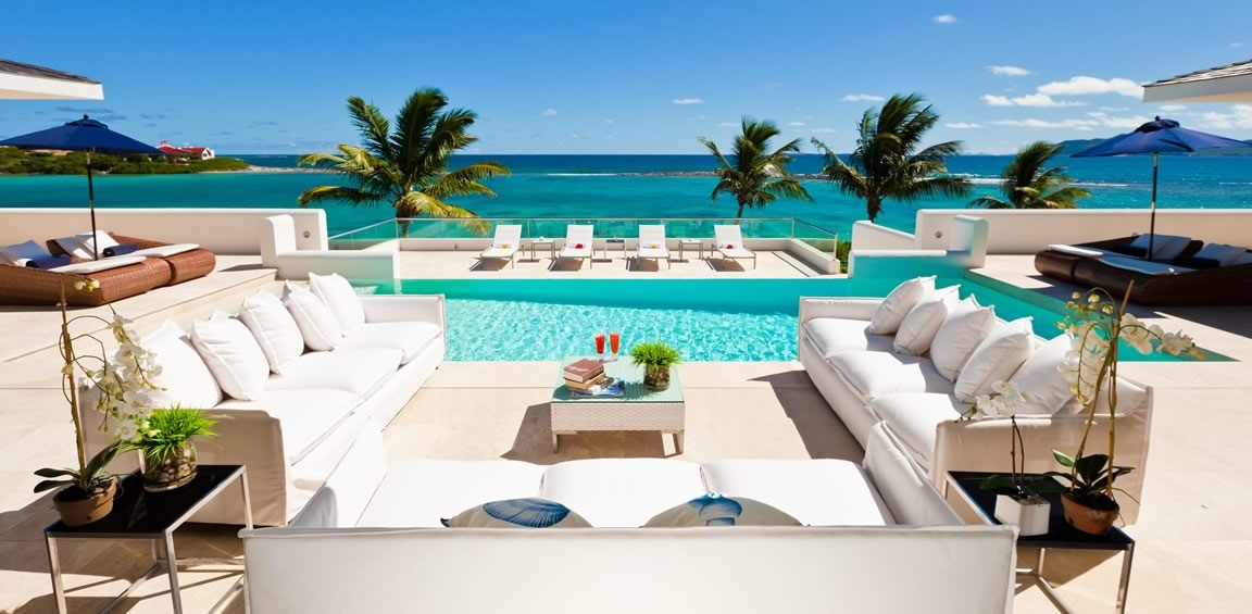 Ultra-luxury beachfront home for sale, Little Harbour, Anguilla - pool & sea view