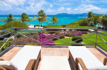 Ultra-luxury beachfront home for sale, Little Harbour, Anguilla - terrace & sea view