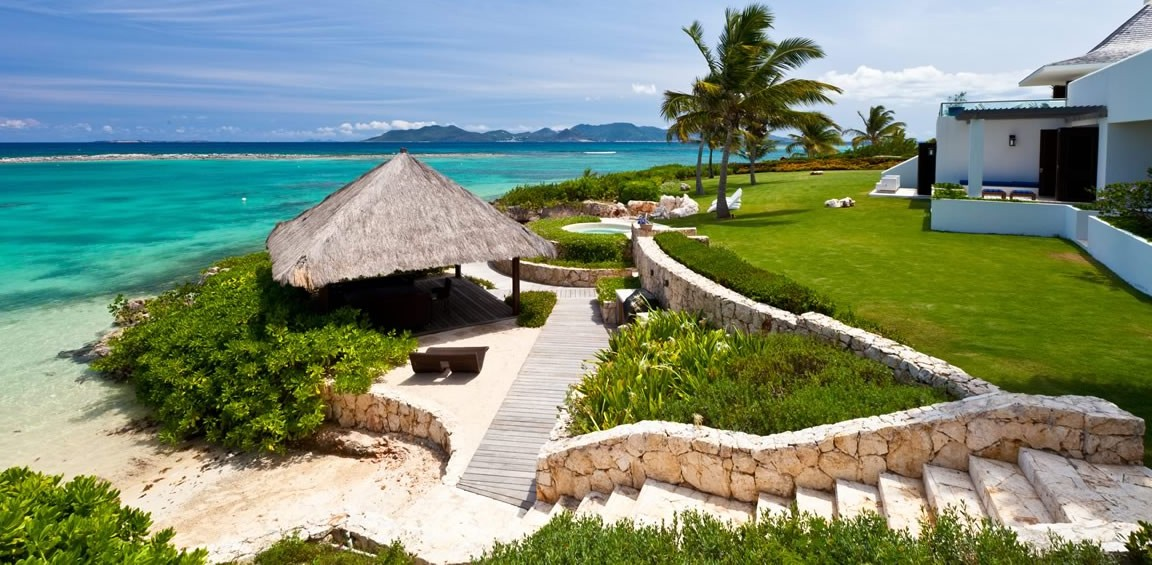Ultra-luxury beachfront home for sale, Little Harbour, Anguilla - garden & sea view