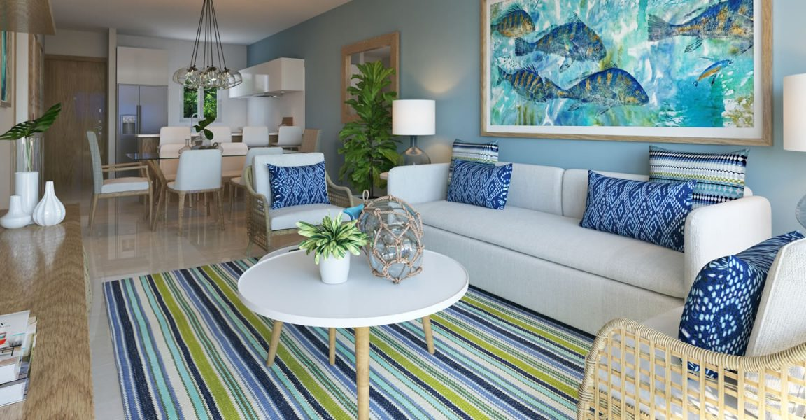 Condos for sale at Hard Rock Golf Club at Cana Bay in Punta Cana, Dominican Republic - living room