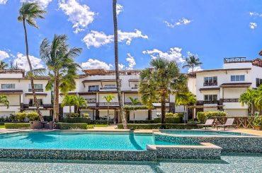 Apartment for sale in Terrazas del Atlantico, Las Terrenas, Samana, Dominican Republic - building and pool