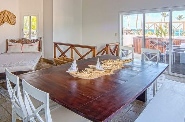 Apartment for sale in Terrazas del Atlantico, Las Terrenas, Samana, Dominican Republic - living room and terrace