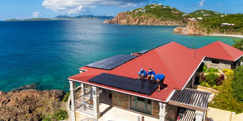 Fitting solar panels in the Caribbean
