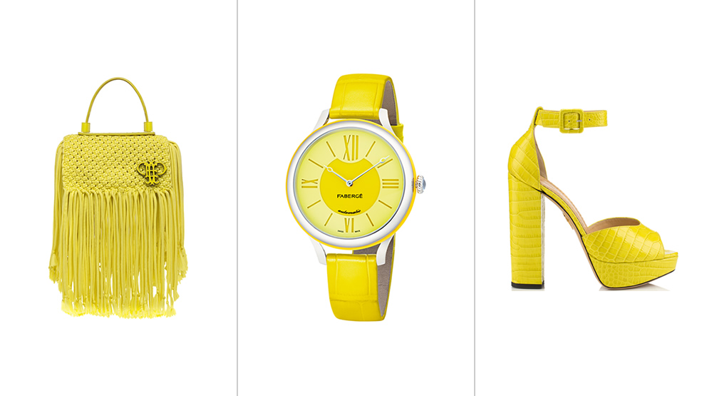 Yellow fashion trend for women - left to right: bag by Emilio Pucci, Faberge Flirt watch by Faberge, Eugenie lime sandal by Charlotte Olympia