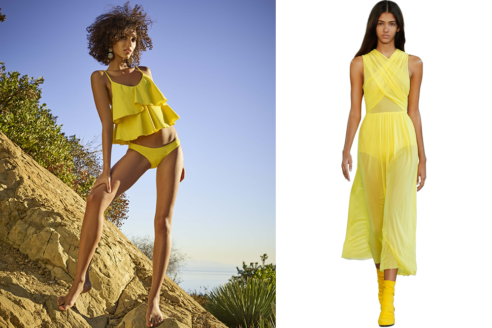 Yellow fashion trend for women - left to right: bikini by LISA MARIE FERNANDEZ, catwalk shot by Emilio Pucci
