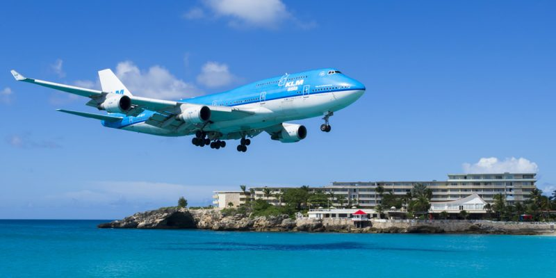 KLM flight over Maho Beach coming in to land at Princess Juliana International Airport, St Maarten