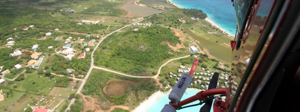 Caribbean helicopter flight over Antigua