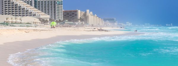 Hotels along the beachfront in Cancun, Mexico