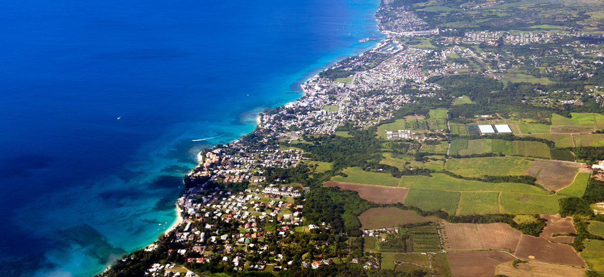 West coast of Barbados - aerial view