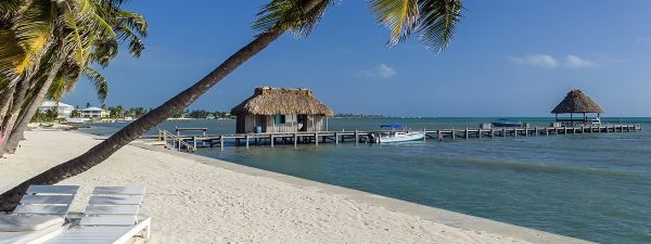 Pier and beach at Ambergris Caye, Belize