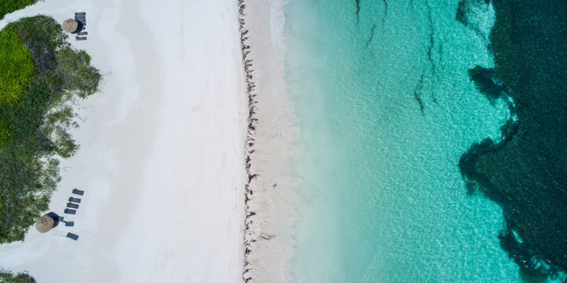 Birds eye view of a beautiful beach in the Abaco islands of The Bahamas