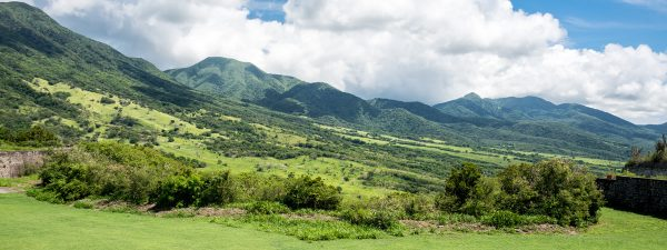Rolling green hills of St Kitts