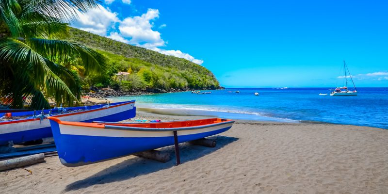 Fishing boats on the beach in Martinique