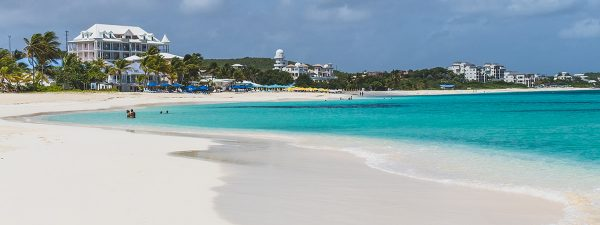 Beautiful beach in Anguilla with view of the Caribbean Sea