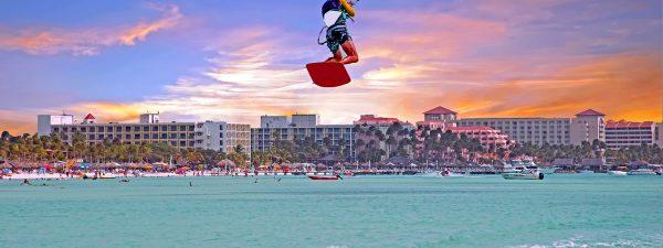 Kite surfer in Palm Beach, Aruba