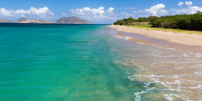 View of St Kitts from a beach in Nevis