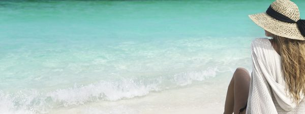 Woman on the beach in The Bahamas