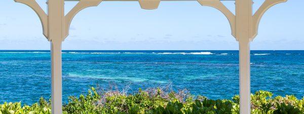 View of the Caribbean Sea through a gazebo