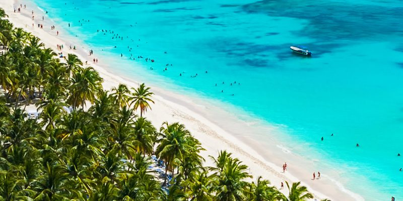 A beautiful beach in the Dominican Republic - aerial view