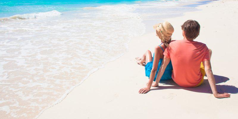 Couple on the beach in the Caribbean