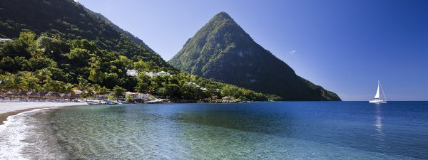 The beach at Sugar Beach, St Lucia with view of the Pitons