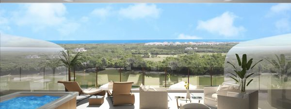 Enjoy views of the gardens, pool, golf course and sea