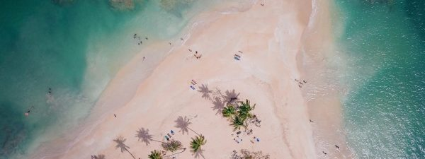 Beautiful beach in the Caribbean - aerial view