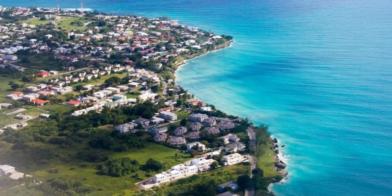 The coast of Barbados - aerial view