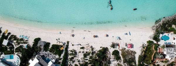 Aerial view of beach houses in the Turks & Caicos Islands