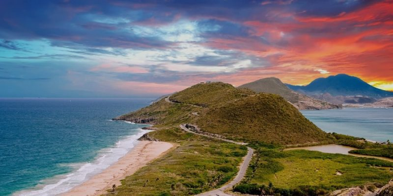 St Kitts & Nevis coastline at sunset