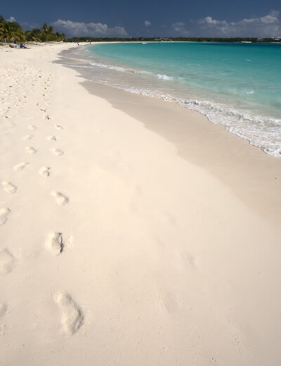 Footprints on the beach in Anguilla