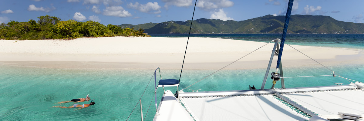 View of a beach in the BVI from the water